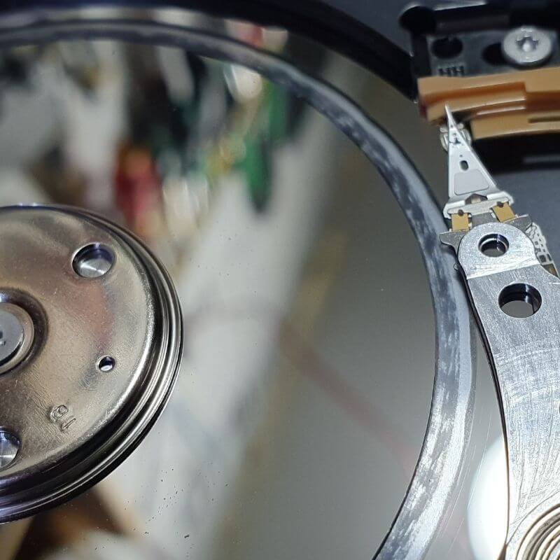 Hard drive with damaged platters caused by a head crash
